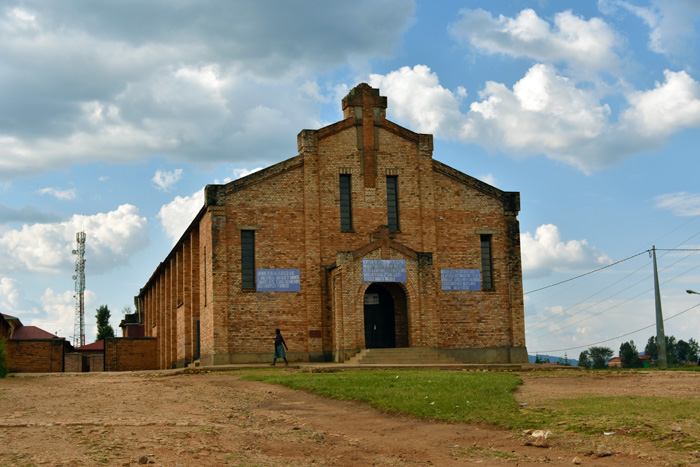 The Kibeho Catholic church that was burnt with hundreds of people inside. The church has been fixed but a section has been closed off as a memory to those who perished inside.