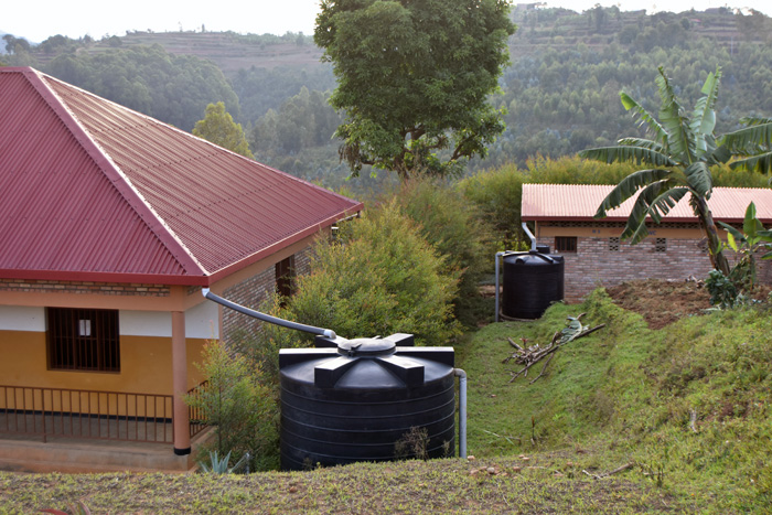 Water harvesting tanks are a very common sight in Kibeho