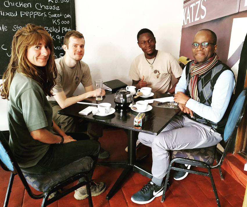 Meeting the Carnivore Research Malawi (CRM) Urban Hyaena Research Project team over coffee